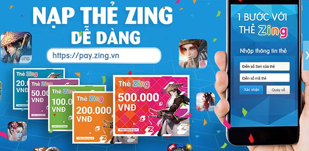 Nhiều ưu đãi cho game thủ sử dụng thẻ Zing